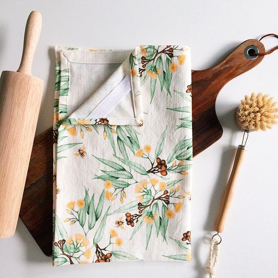 Linen Tea Towel, Bees & Yellow Gum Blossoms, 100% Australian Handmade