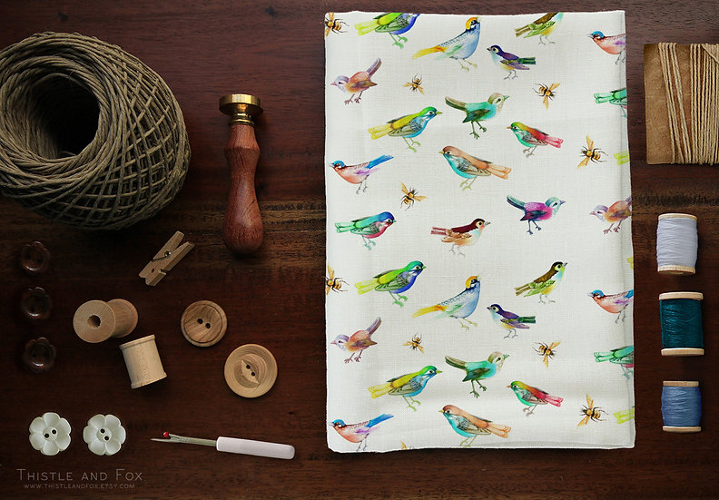 Rainbow Birds Fabric by the Metre, Colourful Watercolour Birds
