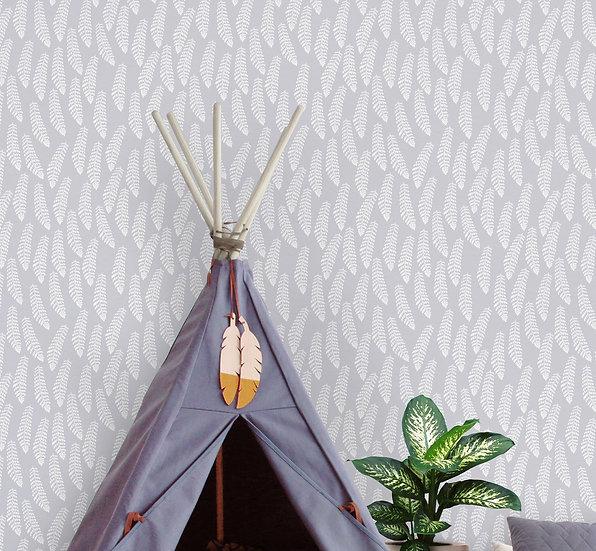 Fern Botanical Wallpaper, Dove Grey and White Woodland Ferns
