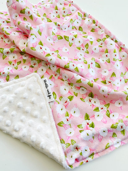 Rose Posy Pink Minky Lovey for Baby with satin loop