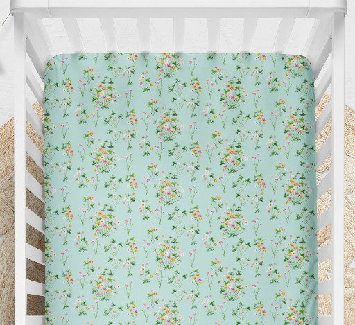 Wildflower Cot Sheet or Cot Quilt. Multi Floral Print on Blue Green