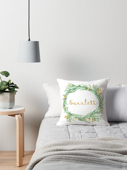 Name Cushion Yellow Flowering Gum / Personalized Botanical Throw Pillow