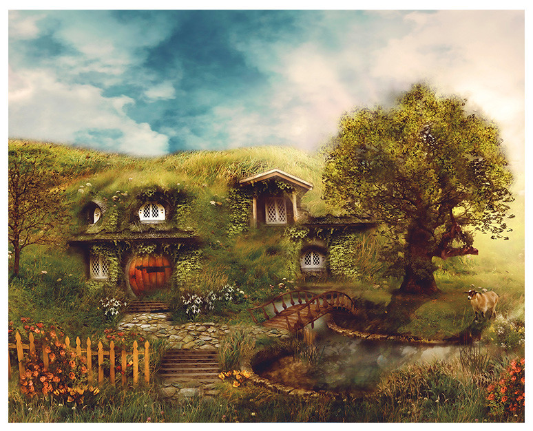 Hobbiton, The Shire. Artwork by Ginger Kelly