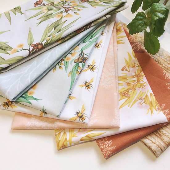 fat quarter collection Australian botanical print fabric