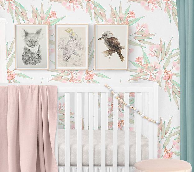 Wallpaper Australian Floral in Pale Pastels, Eucalyptus Gum Blossom