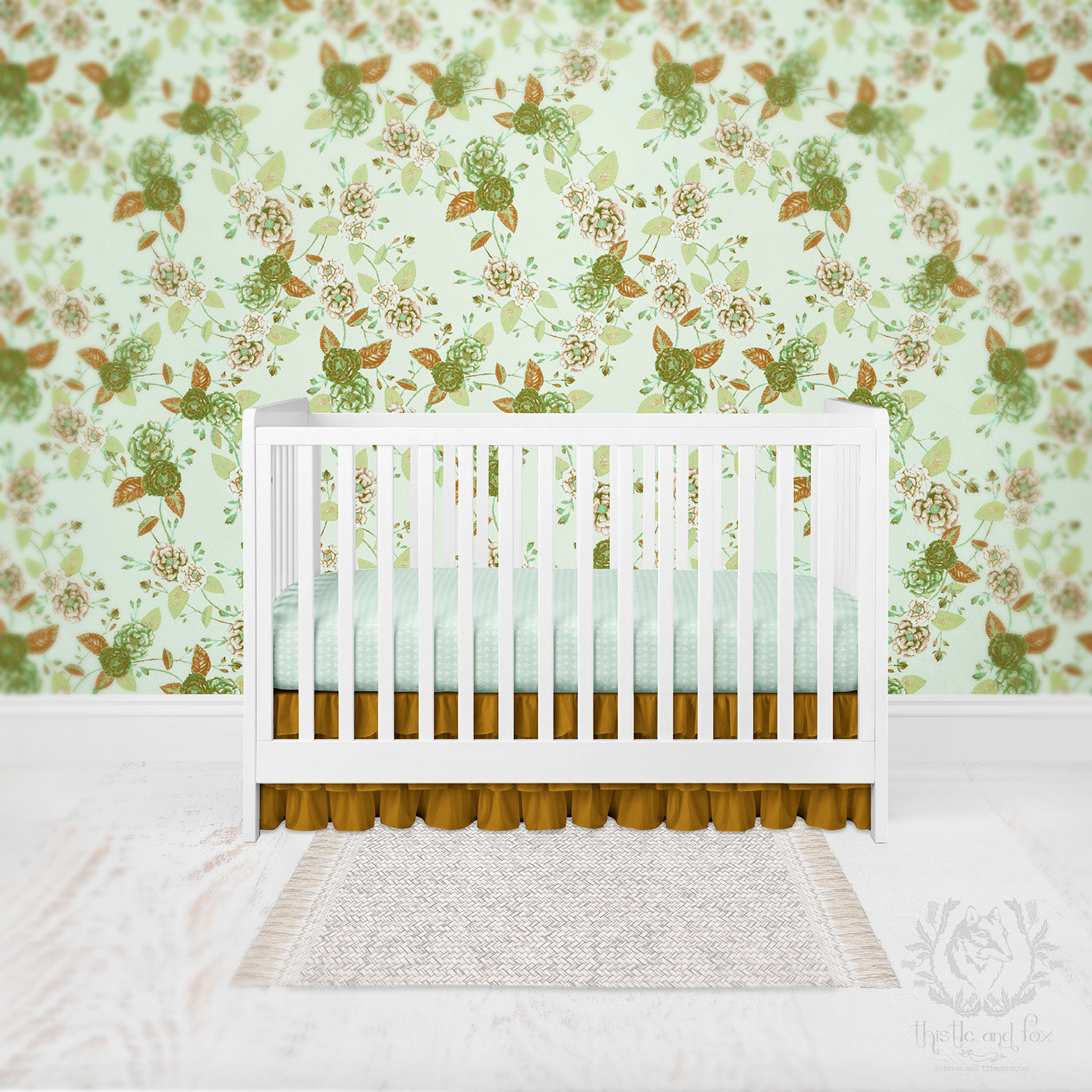 Nursery Wallpaper Bohemian Floral Watercolour Roses Floral
