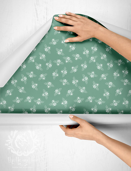 Ditsy Bee Green Drawer Liner or Wallpaper, Peel & Stick or Water Activated