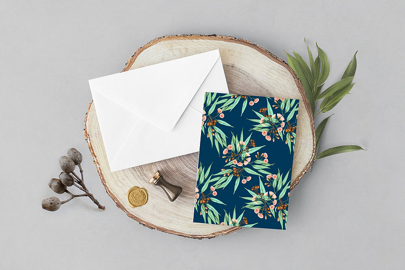 Greeting Card | Gumnuts Eucalyptus, Indigo & Watermelon Pink