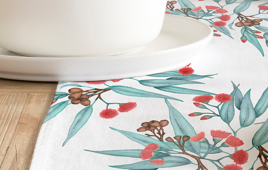 Table Runner, Eucalyptus Gum Blossom Red with Blue Grey Leaves