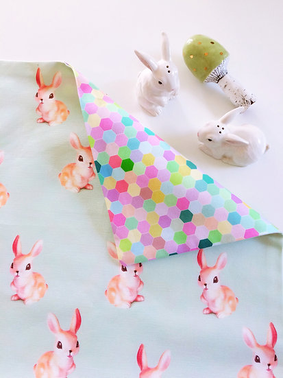 Bunnies & Rainbow Honeycomb Linen Throw Pillow, Geometric Cushion Cover