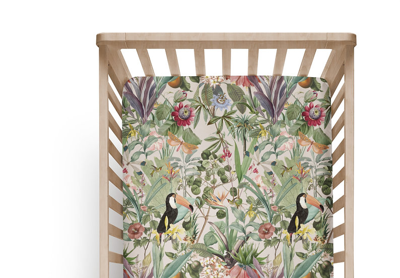 Tropical Garden Cot or Bassinet Sheet, Printed in Aus. Made to Order