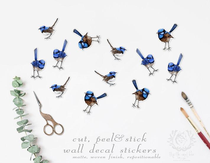 Blue Wrens Wall Sticker Set, Repositionable Peel & Stick Wall Decals