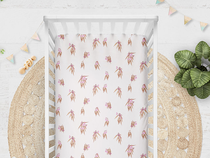 Gum Blossom Cot Sheet or Cot Quilt. Australian Flora in Rose Gold Pink Copper