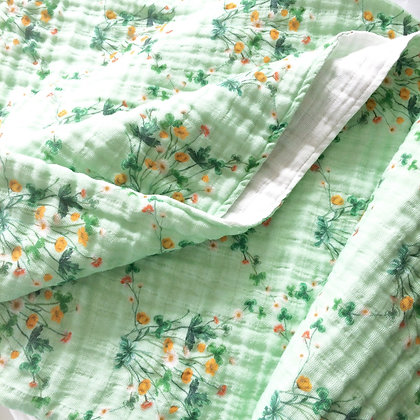 Organic Cotton Muslin Baby Blanket - Meadow Diamond Green