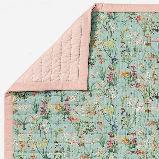 Garden Vintage Floral Cot Quilt, Choose Colour, Cotton Sateen Quilted Blanket