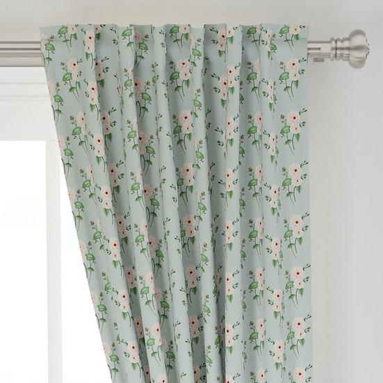 Rose Dusty Blue Curtain Panels   Choose from Cotton, Linen, Velvet