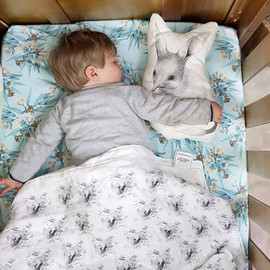 cot sheet & muslin blanket