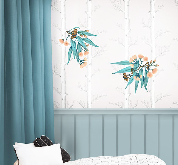 Eucalyptus Wall Sticker Set, Repositionable