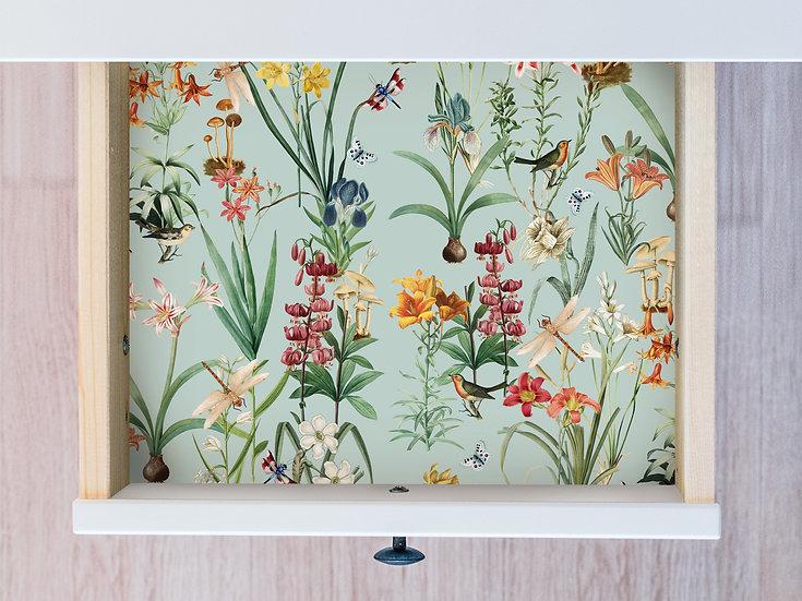 Dragonfly Garden Botanical Drawer Liner Paper or Wallpaper, Dusty Blue