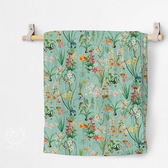 Organic Cotton Muslin Blanket, Dragonfly Garden Blue Green
