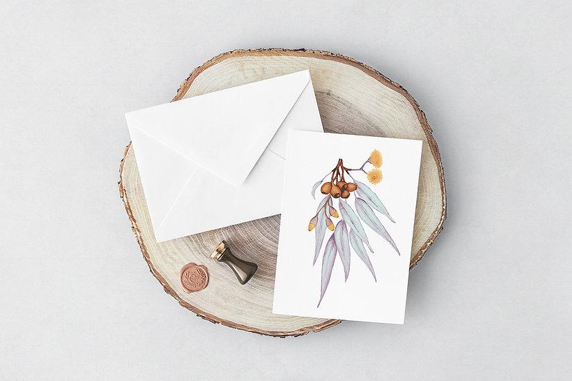Greeting Card | Gum Blossom Sprig, Silver Copper Gold