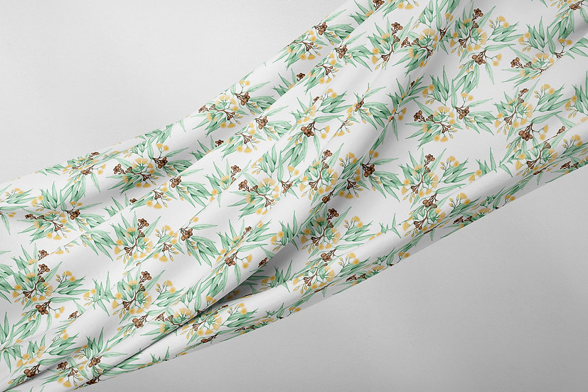 Yellow Flowering Gum Botanical Fabric by the Metre, Printed in Australia