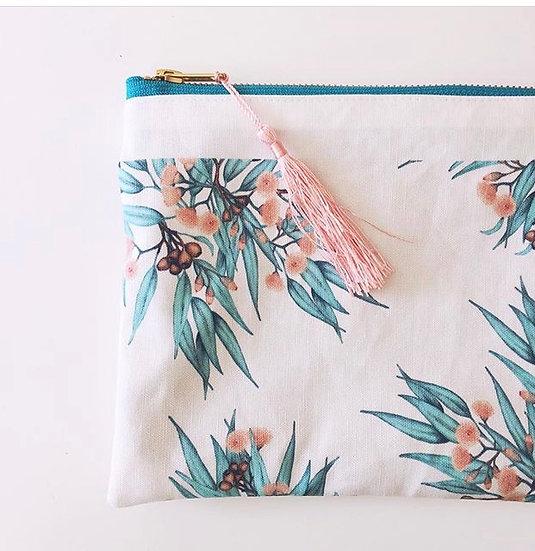 Zip Pouch Pencil Case, Peachy Eucalyptus Gum Blossom