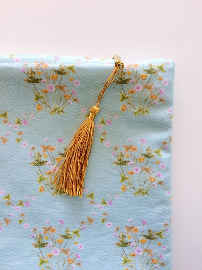 Zip Pouch Meadow Floral Pastel Blue Green Gold, Makeup or Pencil Case