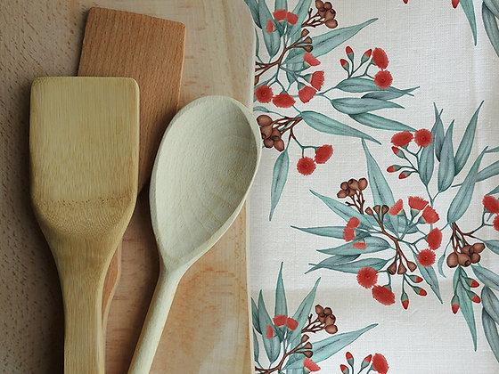 Linen Tea Towels, Eucalyptus Red & Silver Blue, Printed in Australia