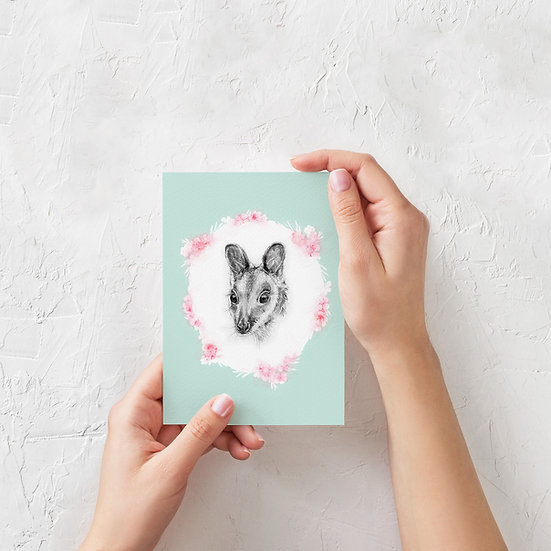 Greeting Card | Wallaby in Pastel, Choose Peachy Pink or Mint