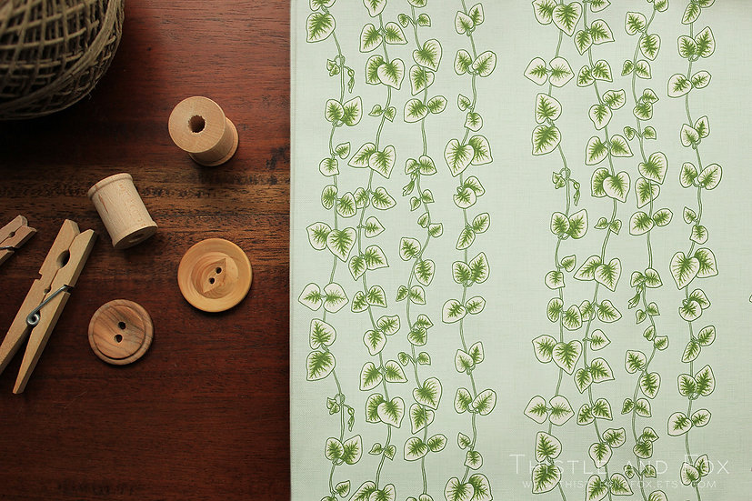 String of Hearts Fabric Botanical Cotton Fabric