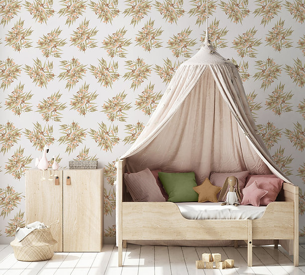 Wallpaper Australian Floral in Pinks or Peach & Olive, Gumnuts Ditsy