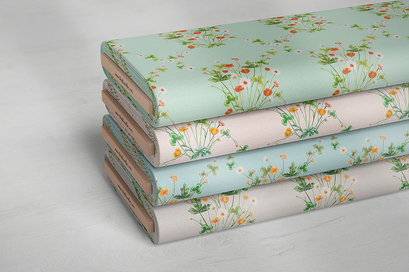 Wildflower Diamond Peach Pastel Floral Fabric by the Metre