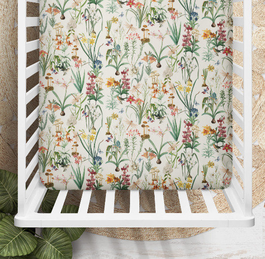 Dragonfly Garden Floral Cot or Bassinet Sheet, Printed in Aus. Made to Order