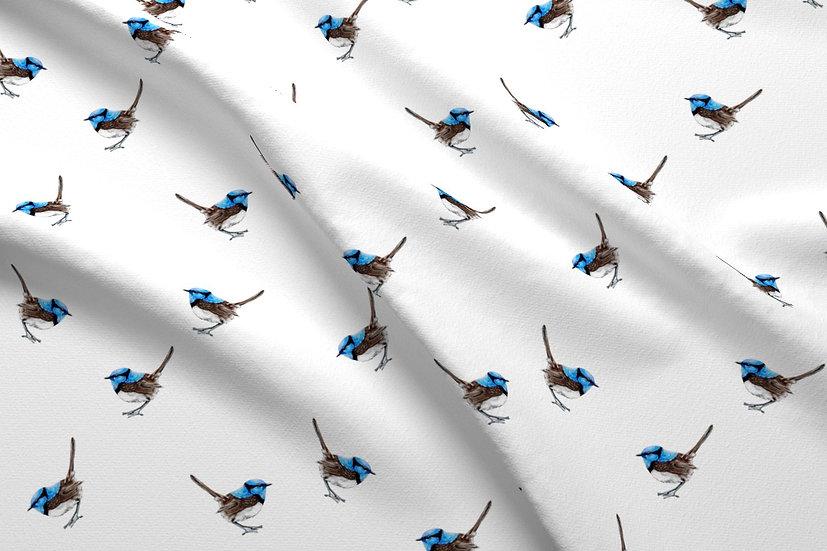 Blue Wrens Ditsy Watercolor Australian Birds Printed Cotton Fabric