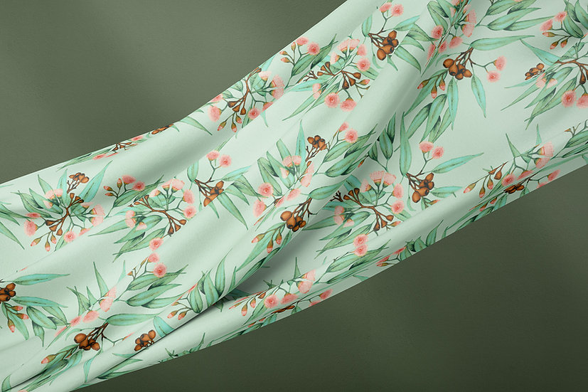 Peachy Pink & Natural Green Eucalyptus Fabric by the Metre, Printed in Australia