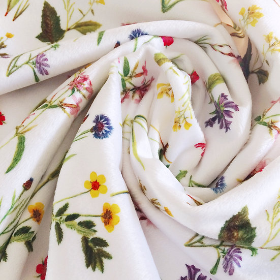 Minky Baby Blanket - Wildflowers, Antique on White