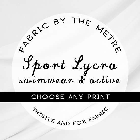 Sport Lycra Fabric by the Metre or Yard, ANY PRINT