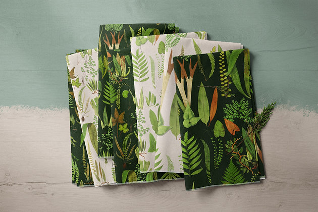 Ferns Vintage Forest Foliage Fabric by the Metre, Printed in Australia