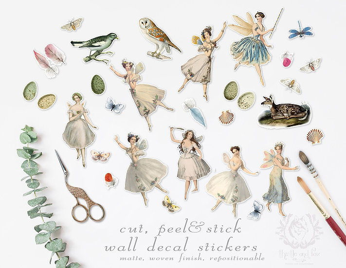 Repositionable Wall Sticker Set 'Woodland Fairies' Vintage Watercolour Drawings