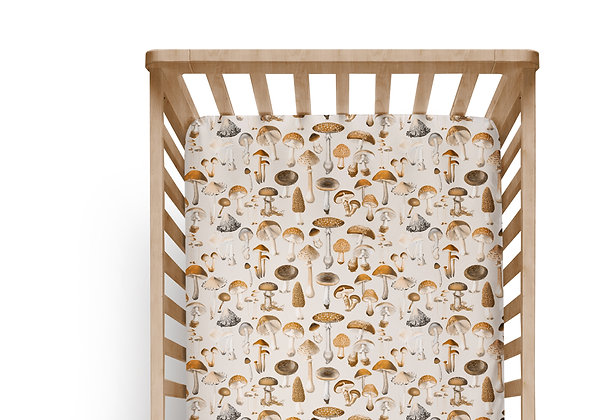Mushies Sepia Cot or Bassinet Sheet, Printed in Aus. Made to Order