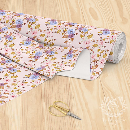 Fairy Tale Roses Floral Fabric, Golden Leaves, Peach Pink Background