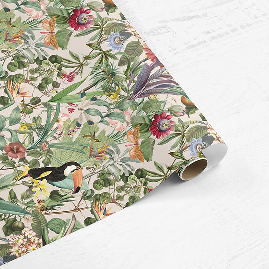 Tropical Garden Botanical Drawer Liner Paper or Wallpaper, Choose Colour