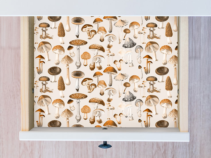 Mushies in Sepia, Drawer Liner or Wallpaper, Toadstool Botanical