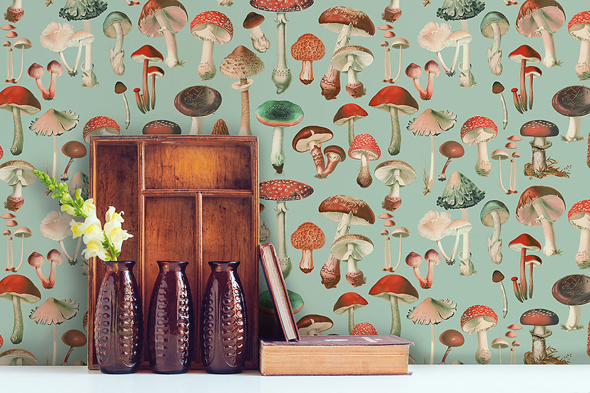 Mushies in Red & Green Drawer Liner Wallpaper, Toadstool Botanical