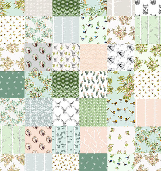 Cheater Quilt Panel Australian Botanicals and Fauna, Green Peach Grey