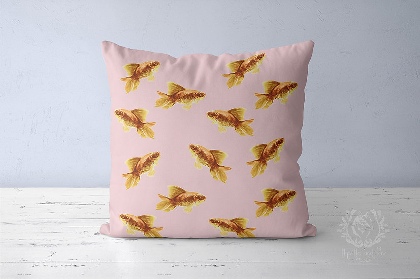 Goldfish Pink Linen Throw Pillow, Cute Cushion Cover