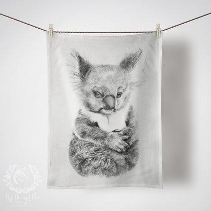 Linen Tea Towels, Baby Koala. Custom Printed in Australia. Handmade