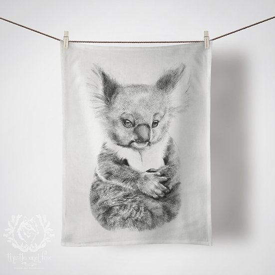 Linen Tea Towel, Baby Koala. Large or Small Print