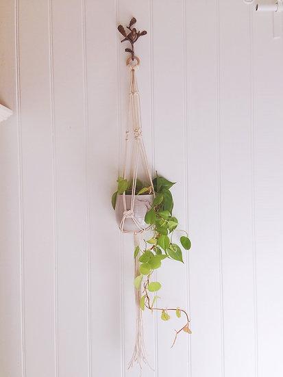 Macrame Plant Hanger - Juno, Natural Cotton Rope Hanger
